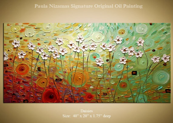 Original Modern  Palette Knife Textured Oil Painting Summer Daisies floral fine art by P. Nizamas 40""