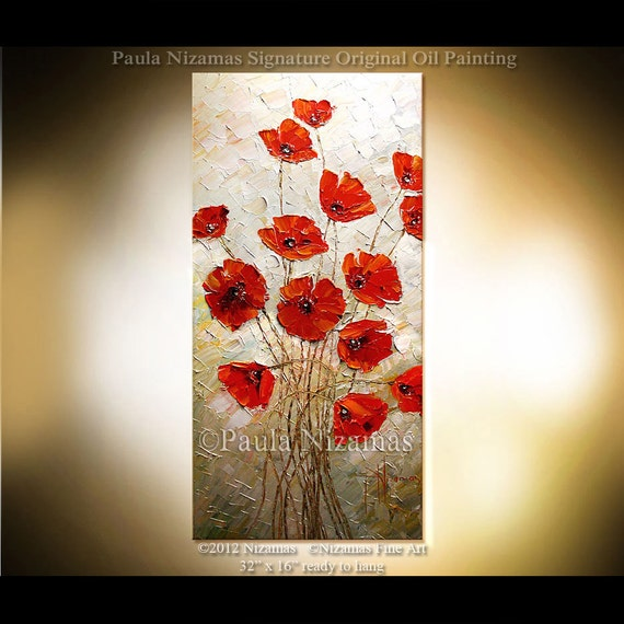 "Original  abstract contemporary Palette Knife Textured Thick Paint  floral fine art by P. Nizamas 32"" xl"