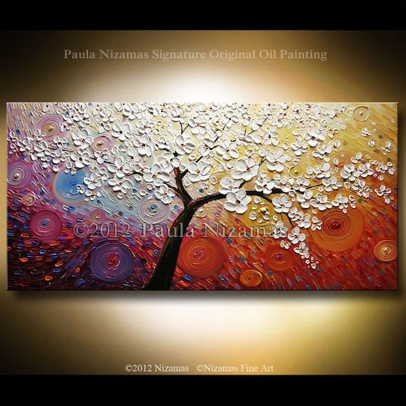 "Original Modern Palette Knife Oil Tree Painting Impasto Sun Rays Touch by Paula Nizamas 48"" x 24"""