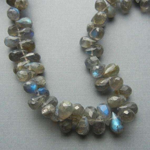 Labradorite Briolette Beads - Faceted Teardrop - 8x5mm - 1/2 Strand - 30 Beads - Destash Gemstones