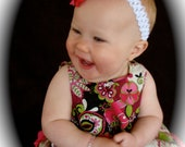 Beautiful Parley Ray Pink and Black Spring Pinafore Dress with Ruffled Baby Bloomers/ Diaper Cover / Photo Props