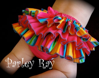 Beautiful Parley Ray Spring/ Summer Rainbow Ruffled Baby Bloomers/ Diaper Cover /Photo Prop