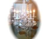 Tole white floral chandelier  Gorgeous