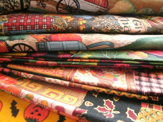 Harvest Fabric Thanksgiving Assorted Lot 6 Pieces About 6 Yards