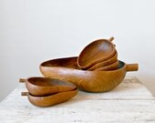 Reserved. Vintage Wooden Bowl Set - Leaf Shaped, Mid Century