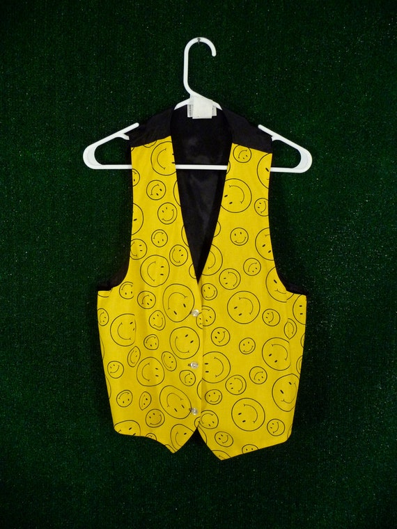 Yellow smiley face vest with faux satin back 90s acid rave for 90s acid rave
