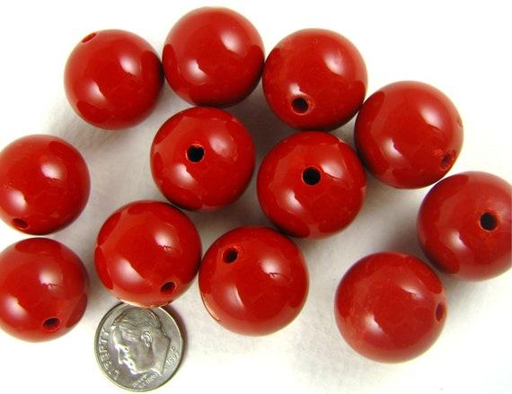 20 gumball beads, 20mm round RED bubblegum beads, chunky beads