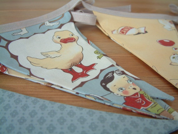 Nursery banner. Retro, vintage design, Moda Lil' Rascals. Bunting flags. 4 yds plus ties. Blue, tan, yellow. Matching quilt available.