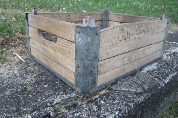 Antique Wood Milk Crate Wooden Box Metal Cage Primitive Crate Petersburg