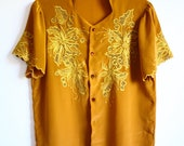 SALE - Vintage Mustard Yellow Floral Embroidery Short Sleeve Scallop Edge Button up Blouse