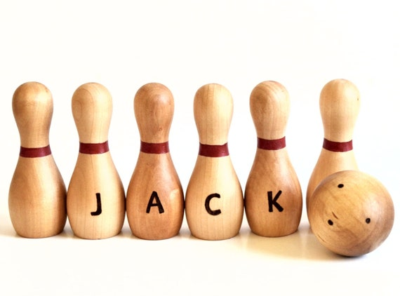 Wooden Toy - Personalized Bowling Set - Waldorf - Natural Wood Toy For Toddlers