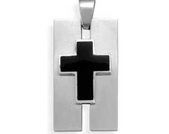 MENS 316L Stainless Steel Pendant with Black Cross