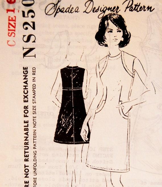 """Vintage 1960s Spadea Misses' Dress Pattern NS-250 Brigance Size 16 (38"""" Bust)"""