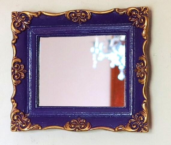 Vintage GOLD Mirror in Glossy Plum Purple // Gilt Purple Baroque Wall Mirror