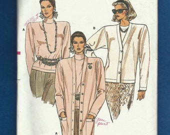Vintage 1986 Vogue 9668 Classic Cardigan with Shoulders Pads and Tops Sizes 8 10 12