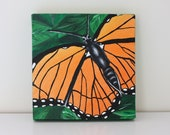 Monarch Butterfly - 8 x 8 Original Abstract Painting, Acrylic on Canvas, Orange and Black Butterfly, Green Leaves, Nature, Insect