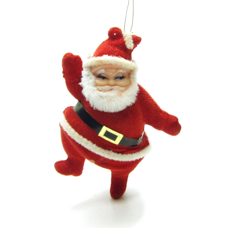 Flocked santa ornament vintage dancing claus christmas