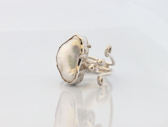 Free Form Pearl Ring - Sterling Silver Ring - Adjustable - Ready to Ship