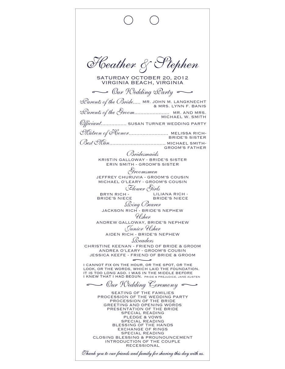 Long Rustic Wedding Program White Card Stock Navy Lettering