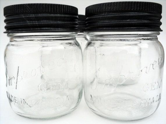 Pint Mason Jars Dark Pewter Metal Rings & Glass tops, Clear Canning Jars, 1970's