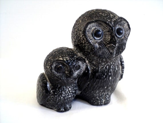 Stone owl figurine carved soapstone mother baby nuvuk
