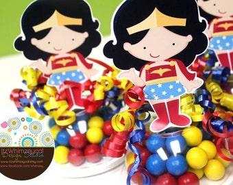 Wonder Girl | Superhero Girl | Girl Super Hero Party | Superhero Girl Birthday Party | Candy Container | Party Favor Boxes | Centerpieces