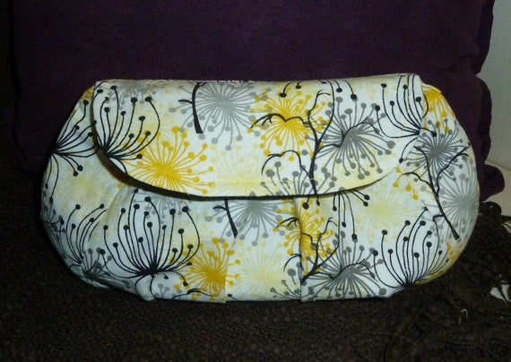 Yellow Floral Print Pleated Clutch
