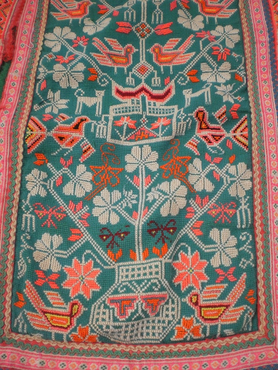 Embroided Folk Art Tribal Textile Panel By The Hmong Hilltribe People