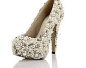 For Jenna Handmade Super high heels pearl wedding shoes