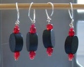 SALE Black & Red Knitting Stitch Markers, set of 4