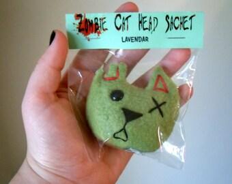 Set of 4 Zombie Cat Head Sachets - Lavender
