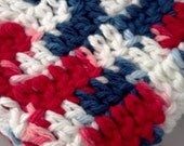 Crochet Wash Cloth Set of 2 Red White and Blue