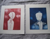 Etching 2 series set blue red outsider art graffiti underground copper printmaking