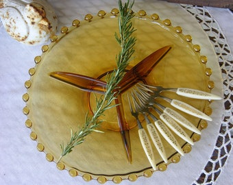Vintage CANDLEWICK or HOBNAIL Divided Bowl Great for Appetizers in Amber Glass