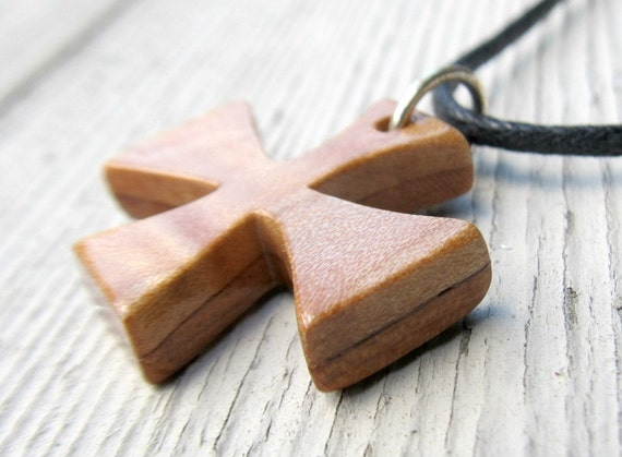 Maltese Cross Necklace - Cherry and Maple Hardwoods - Mens Jewelry
