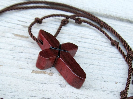 Rustic Hand Carved Cross - Purpleheart Wood from Brazil - Necklaces for Men