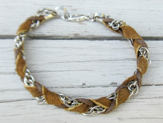 Men's Leather & Chain Bracelet - Country Western Jewelry