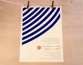 Modern Wedding Invitation - blue stripes and coral - DEPOSIT
