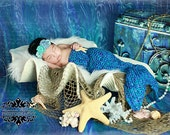 crochet mermaid tail with matching crochet headband-newborn photo prop-made to order-crochet headband