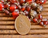 Red Glass Beaded Necklace with Vintage Buddhist Charm
