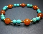 Red Aventurine and Turquoise Stretchy Bracelet