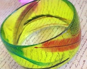 Spring - lime peridot green hand made resin bracelet bangle -- READY TO POST -- ladies fashion jewelry gift under 30