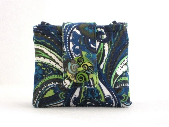 Zipper Pouch, Wallet, Cotton, Navy, Neon Green, White, Leaf, Paisley