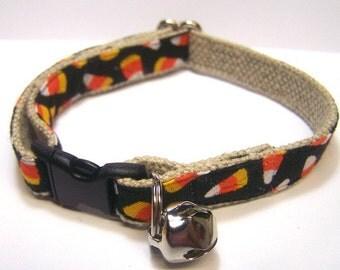 Handmade Hemp Cat Collar -Candy Corn-
