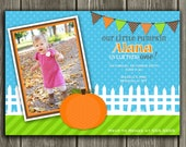 Pumpkin Birthday Invitation - FREE thank you card included