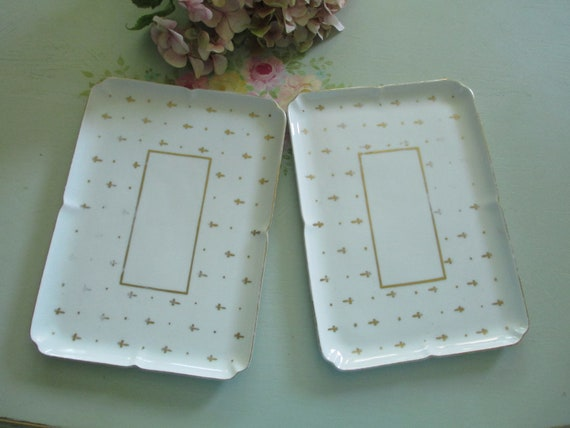 Vintage limoges plates fleur de lis serving tray by myplace4tea - Fleur de lis serving tray ...