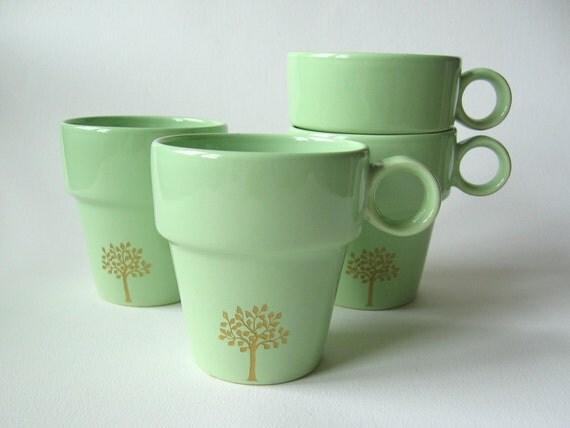 SALE reCYCLEd coffee mug with leafy tree