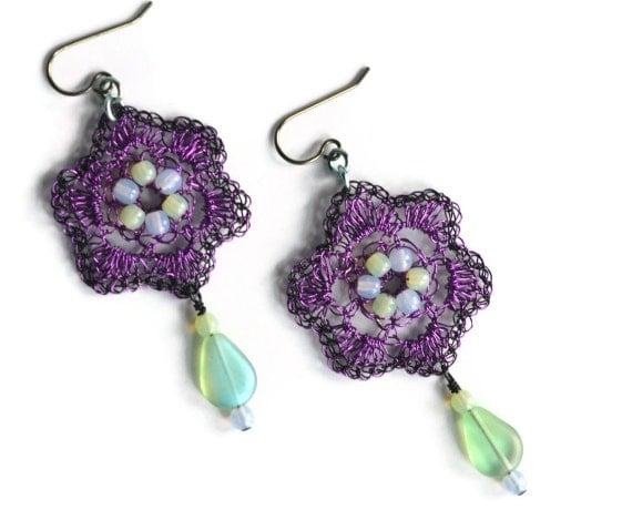 Hand Crochet  Wire Amethyst and Lavender Czech GlassEarrings by PrayerMonkey