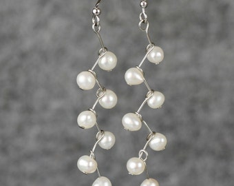 Bridal wedding gift Pearl zigzag dangle earrings Bridesmaids gifts Free US Shipping handmade Anni designs
