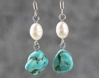 Pearl turquoise chunky chandelier earrings Bridesmaids gifts Free US Shipping handmade Anni Designs